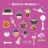 Voyagent les icônes de vecteur en Corée, Séoul réglées Image libre de droits