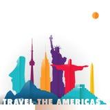 Voyagent les monuments du monde de coupe de papier des Amériques illustration stock