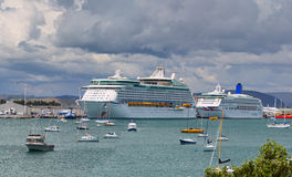 Voyager of the Seas giant luxury cruise ship was docked in port of Tauranga. Stock Image