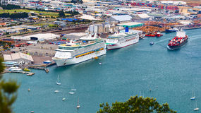 Voyager of the Seas giant luxury cruise ship was docked in port of Tauranga. Stock Photos