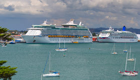 Voyager of the Seas giant luxury cruise ship was docked in port of Tauranga. Royalty Free Stock Photography
