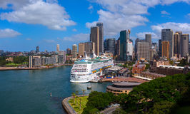 Voyager of the Seas giant luxury cruise ship was docked in the Sydney central business district Stock Images