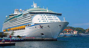 Voyager of the Seas large cruise ship was docked in the downtown of Nagasaki city. Over 3,700 passengers came to visit Japan. Royalty Free Stock Photos