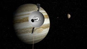 Voyager space probe approaching Jupiter. One of the Voyager space probes approaches Jupiter during its four-decade interstellar mission to explore the solar stock video