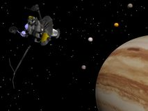 Voyager spacecraft near Jupiter - 3D render stock illustration
