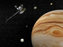 Voyager spacecraft near Jupiter and its satellites - 3D render Royalty Free Stock Photo