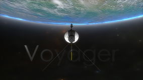 Voyager spacecraft with text overlay. stock video