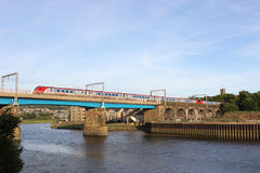 Voyager train crossing Carlisle Bridge Lancaster Royalty Free Stock Photography