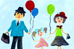 Voyages for groups of children drawings of city Kharkiv Stock Photo