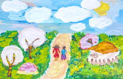 Voyages for groups of children drawings of city Kharkiv Royalty Free Stock Photo