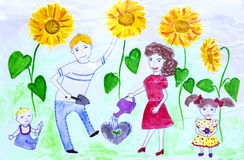 Voyages for groups of children drawings of city Kharkiv Stock Photography