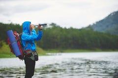 Voyageur avec le regard Image libre de droits