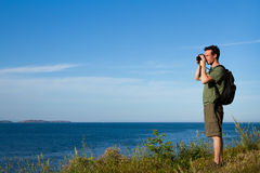 Voyageur avec le sac à dos Photographie stock libre de droits