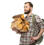 Voyageur avec le sac à dos et les rondins Images libres de droits