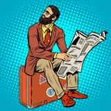 Voyageur barbu de hippie lisant un journal illustration de vecteur