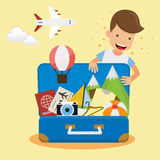 Voyageur de jeune homme avec la valise ouverte pour le voyage Style plat d'illustration de vecteur de voyage de concept illustration libre de droits