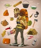 Voyageur et un ensemble de choses pour le voyage illustration de vecteur