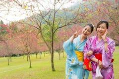 Voyageur féminin se tenant sur le parc de fleurs de cerisier Photos stock