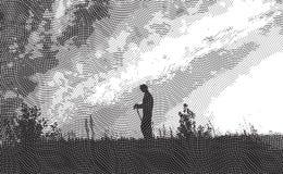 Voyageur - gravure à l'eau-forte illustration de vecteur