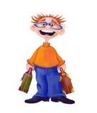 Voyageur/homme avec des valises - illustration - avec le chemin de coupure Image stock