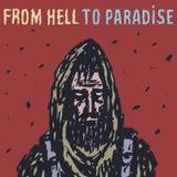 Voyageur seul pendant l'apocalypse de zombi Illustration de vecteur illustration stock