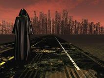 Voyageur sur la route pour désoler la ville illustration de vecteur