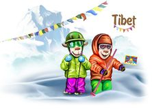 Voyageurs au Thibet illustration de vecteur