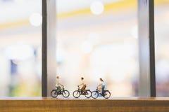 Voyageurs avec la bicyclette sur le pont en bois Image stock