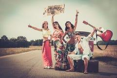 Voyageurs hippies multi-ethniques Photo libre de droits