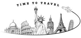 Voyagez à grand Ben London, Tour Eiffel Paris, Roma Colloseum, Pise, statue de la liberté NYC, illustration stock
