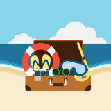 Voyagez à la conception plate d'éléments d'été de plage Photos stock