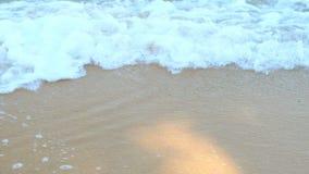 Voyagez à la plage et voyez la mer onduler et jouer le sable dans le jour d'été chaud banque de vidéos
