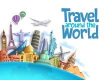 Voyagez autour du fond et du calibre de vecteur du monde avec les points de repère célèbres et la destination de touristes illustration stock