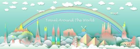 Voyagez avec le dessus de points de repère du pays de renommée mondiale de monuments illustration libre de droits