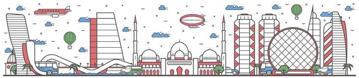 Voyagez en ligne de ville d'Abu Dhabi bannière plate de conception Illustration Libre de Droits