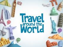 Voyagez et voyagez le calibre de fond de vecteur avec le voyage autour du texte du monde et des destinations de touristes célèbre illustration stock