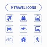 Voyagez et transportez l'icône réglée pour le Web et l'APP mobile Chaque icône est un objet simple Photographie stock