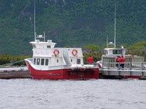 Voyagez le bateau et les touristes sur l'étang occidental de ruisseau à Gros Morne National Park Photographie stock