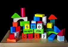 Voyez les vues de la ville - P.R., faisant de la publicité pour des villes Photos stock
