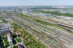 Voynovka railway node. Industrial district. Tyumen Royalty Free Stock Photo