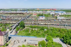 Voynovka railway node. Pedestrian bridge. Tyumen Royalty Free Stock Photo