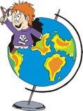 Voyou avec une fronde et un globe sholar illustration stock