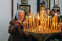 Ukrainian parishioners of the Orthodox Church. Voyutyn, Volyn / UKRAINE - OCTOBER 14 2017: Ukrainian parishioners of the Orthodox Church during Slavonic Royalty Free Stock Photos