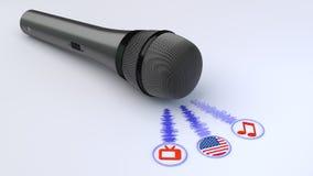 Voz sobre el micrófono y la bandera americana libre illustration