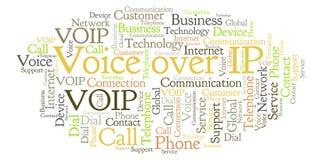 Voz sobre la nube de la palabra del IP stock de ilustración