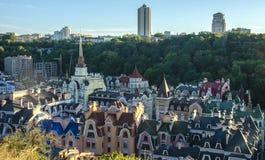 Vozdvizhenka-Auslesebezirk in Kiew, Ukraine Draufsicht über die Dächer der Gebäude Lizenzfreie Stockfotos