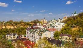 Vozdvizhenska de la ciudad de la ciudad de Kiev viejos y capital de la calle del honcharna del kyiv de Ucrania fotos de archivo libres de regalías