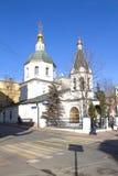 Voznesenskaya church on Bolshaya Nikitskaya street. April, 12, 2016. Voznesenskaya church 16th century. Moscow, Russia, April, 12, 2016. One of the many churches Stock Photo