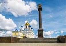 Voznesenskijkathedraal en rood vierkant in de stad van Yelets, Li Royalty-vrije Stock Afbeelding