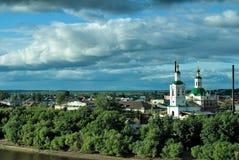 Voznesensko-Georgiyevsky church in Tyumen. Voznesensko-Georgiyevsky church on a coastal part of the city of Tyumen, Russia Stock Photography